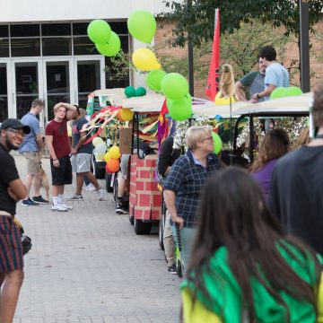 Wright State students decorate and drive golf carts in celebration of homecoming