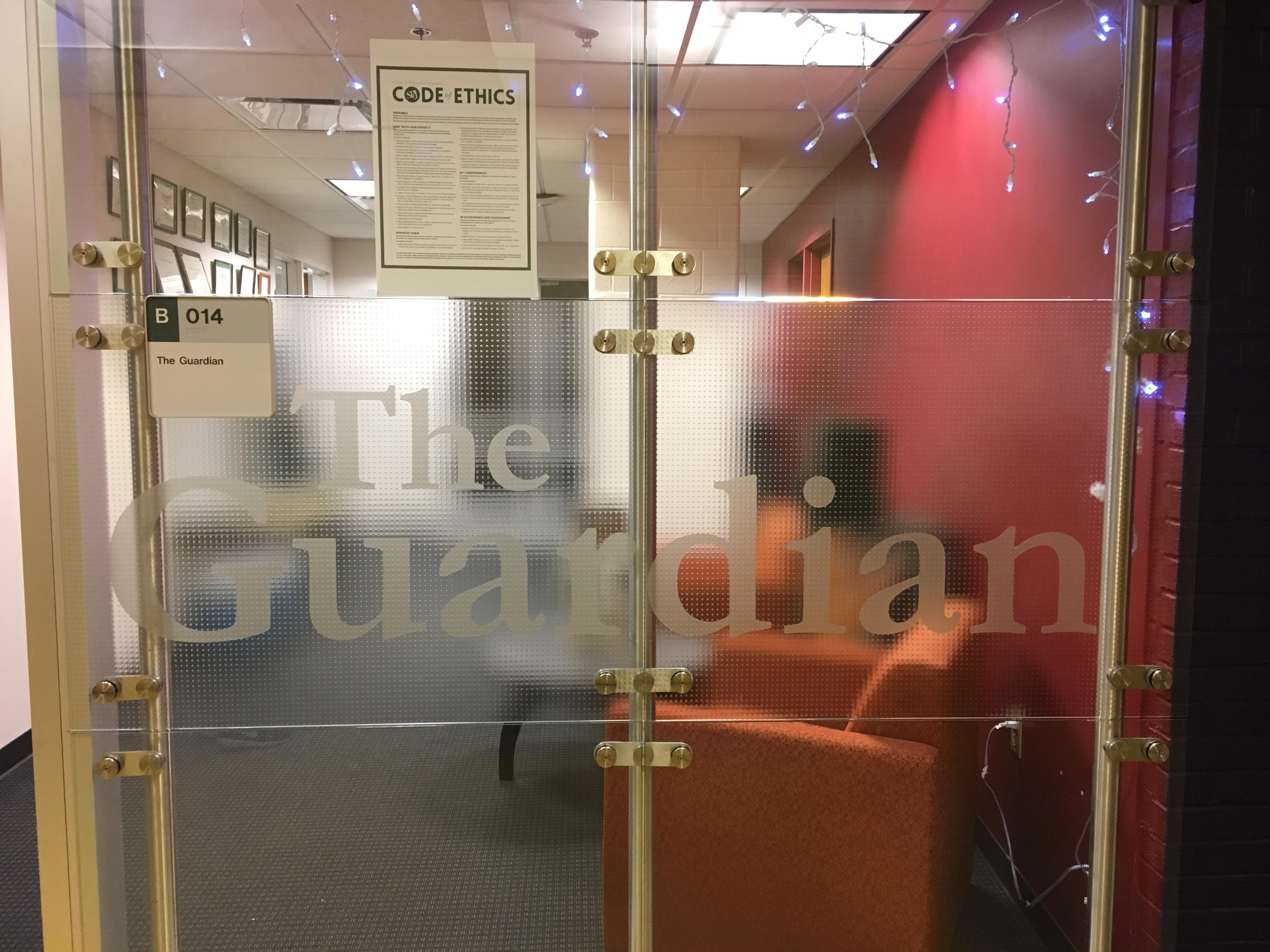 Wright State Guardian Newspaper Day - Guardian Office Door / Sarah Cavender