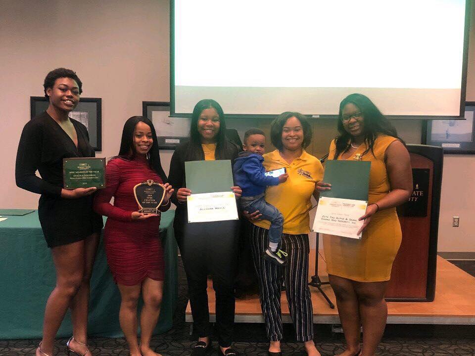 Members of Sigma Gamma Rho Sorority, Inc. whose members won NPHC Chapter of the Year, NPHC Member of the Year, and NPHC President of the Year.