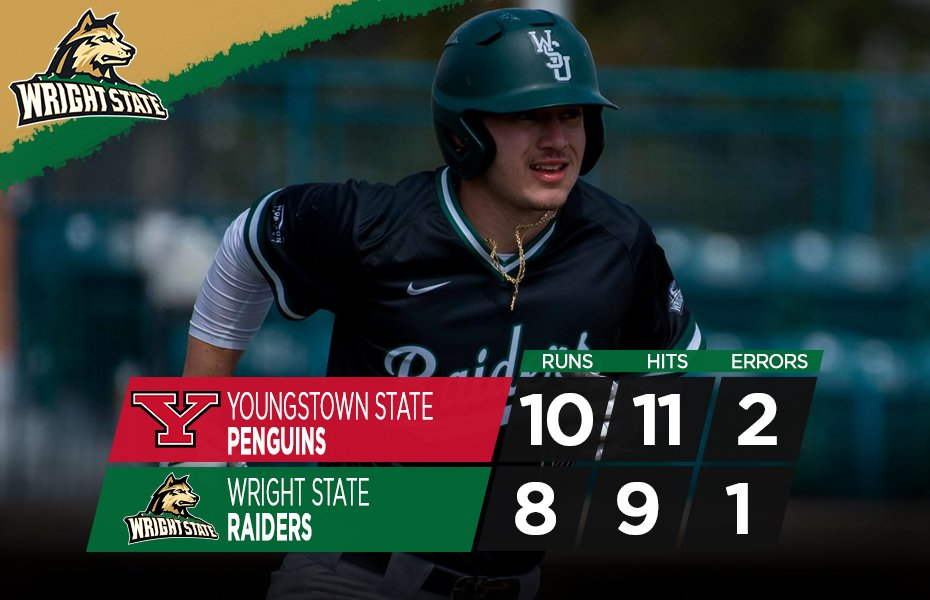 Baseball final scores vs. Youngstown State. Photograph from Wright State Baseball's Twitter.