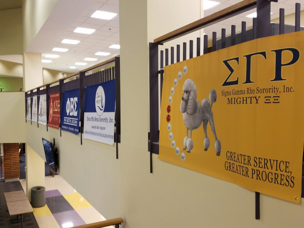 Greek life signs hung in the Student Union / Photograph Jessica Fugett / The Guardian