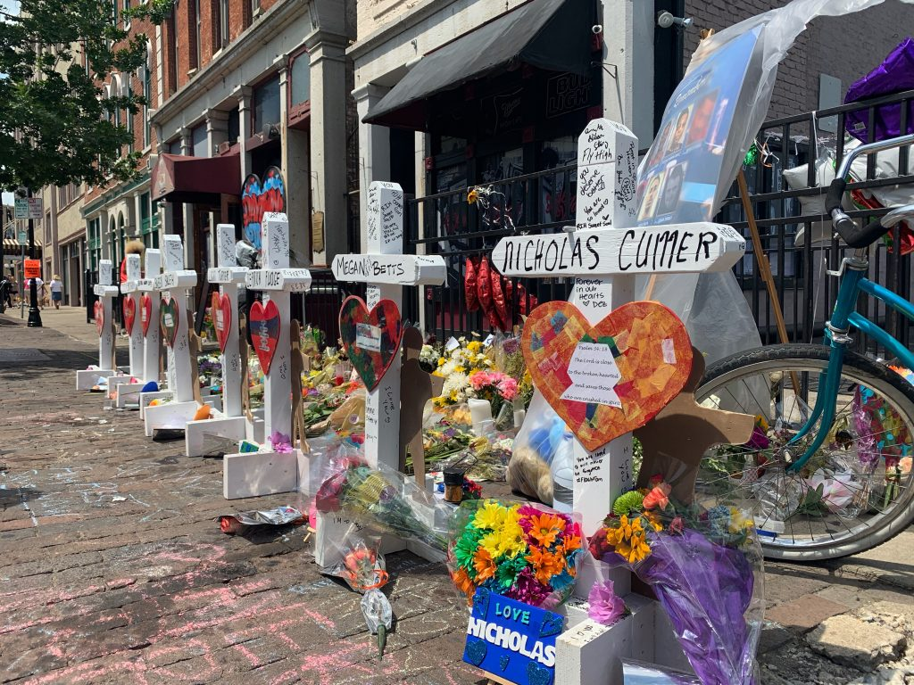 Thursday August 8 Crosses and a memorial were set up in the Oregon District to honor those that died / Photo: Sarah Cavender