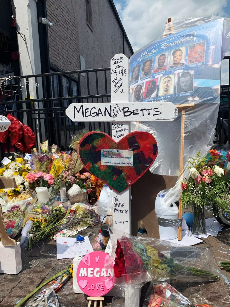 Crosses were set along sidewalk of the Oregon District for those that died. One of the crosses honored Megan Betts, Wright State student / Photo: Sarah Cavender