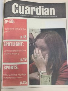 Front page issue of the Wright State Guardian Newspaper in Sept 2001.