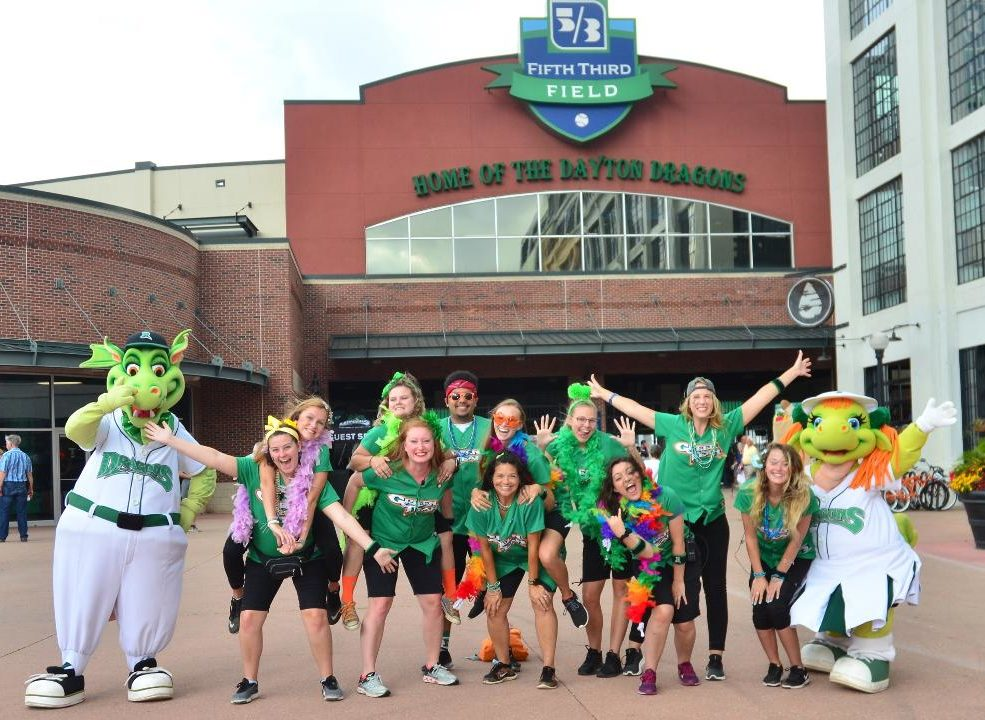 Dayton Dragons Green Team | Photo from Jamie Penwell | The Wright State Guardian