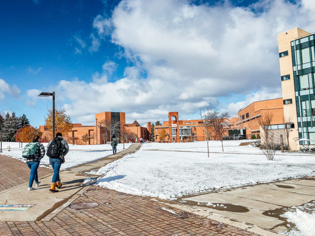 Wright State campus after first snowfall of the season | Photograph by Soham Parikh | The Wright State Guardian