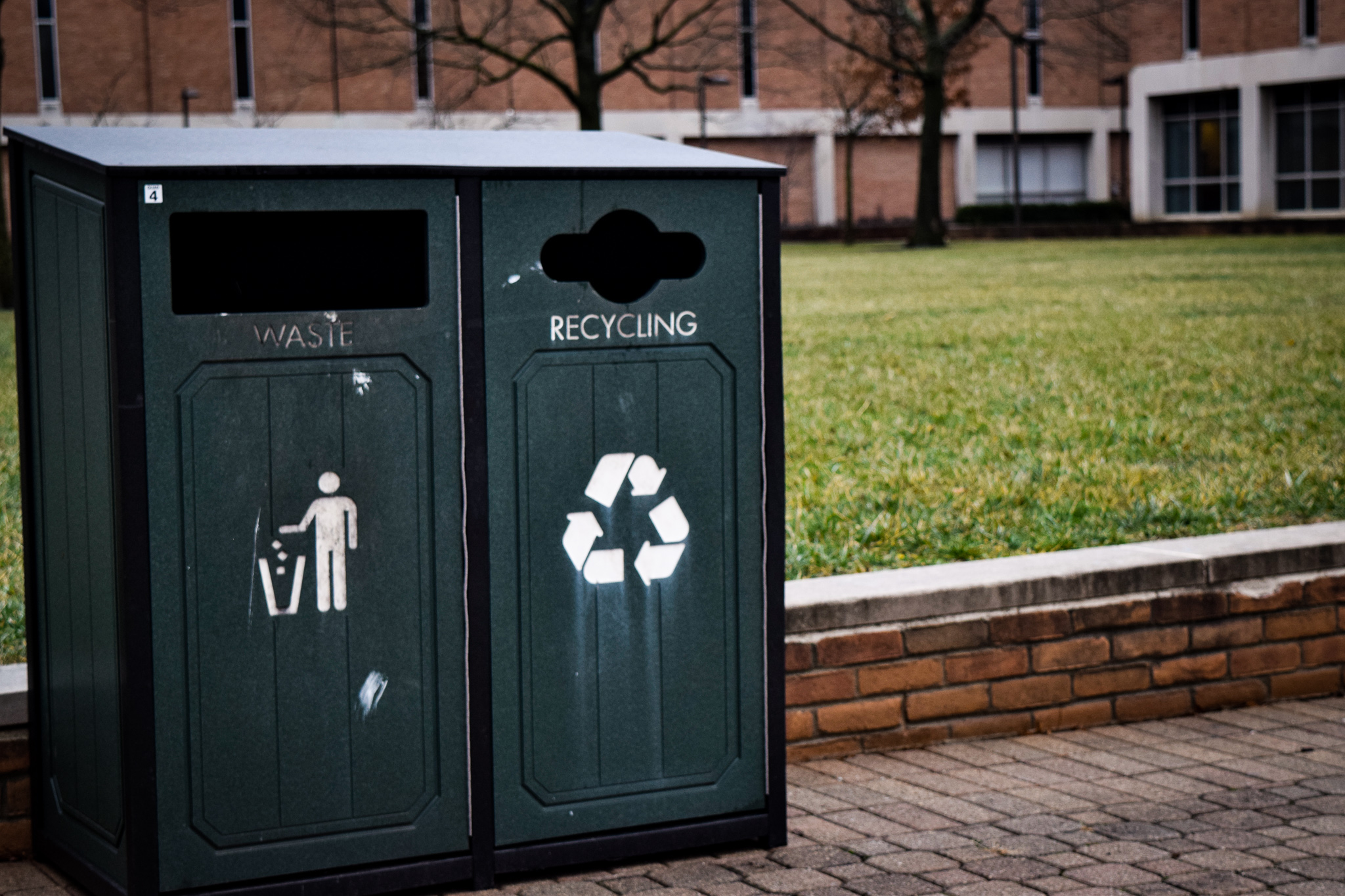 Recycling bins on campus | Photo by Jessica Fugett | The Wright State Guardian