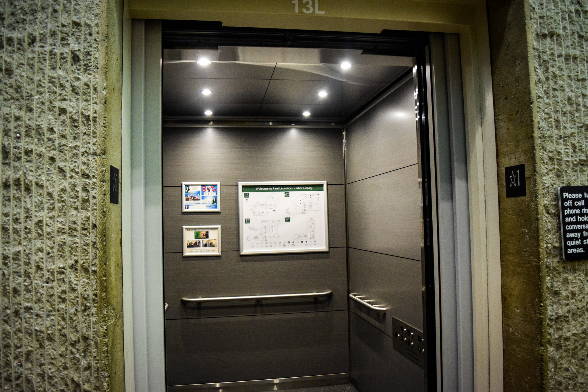 New Dunbar Library elevators | Photo by Jessica Fugett | The Wright State Guardian