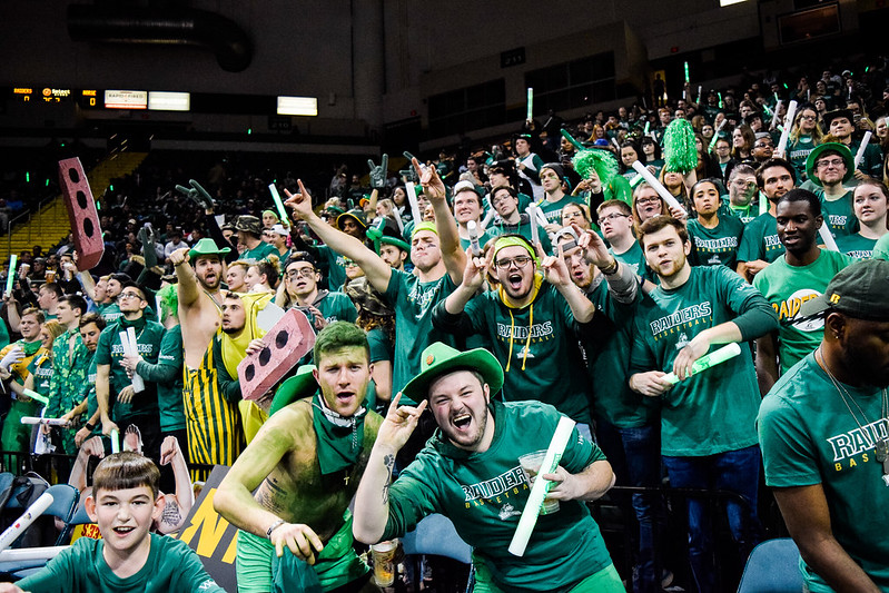 Wright State student section, Rowdy Raiders | Photograph by Jessica Fugett | The Wright State Guardian