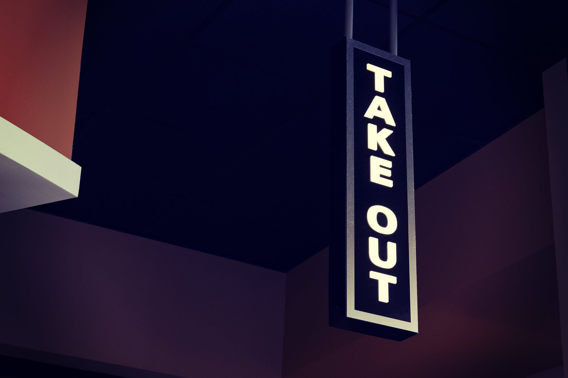White LED take out signage hanging | Photo by Tim Mossholder | Pexels.com