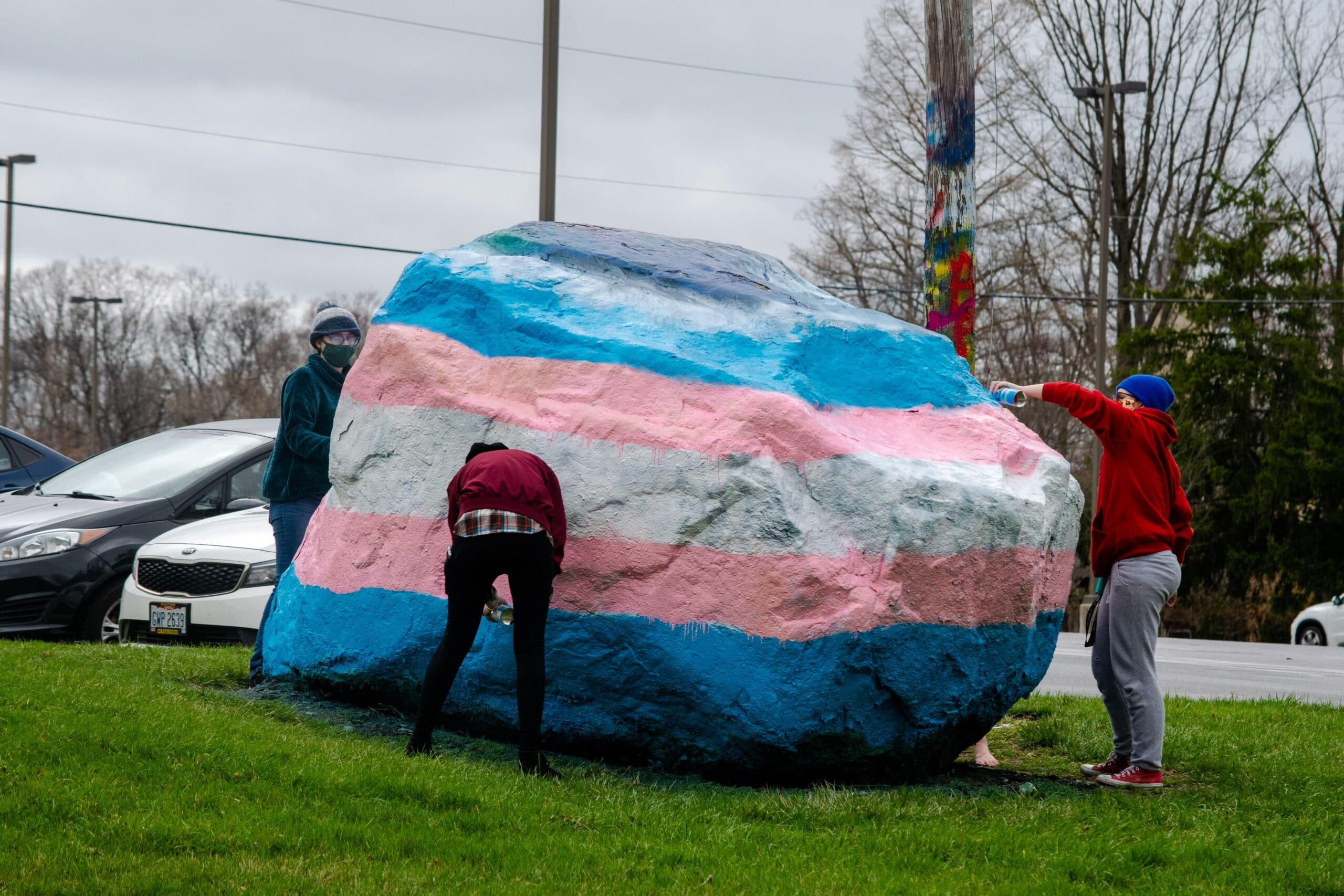 The transgender flag is painted on the Wright State Rock for International Transgender Day of Visibility.