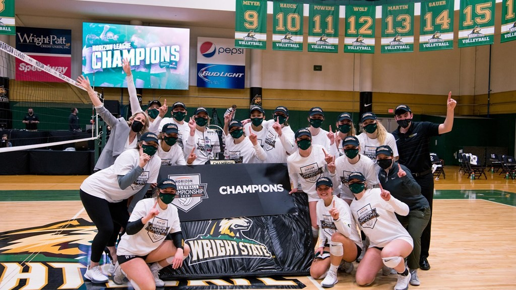 WSU Women's volleyball team is Horizon League 2020 champions.