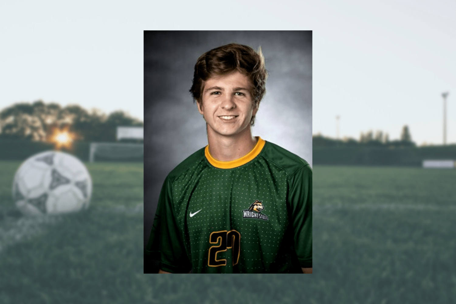 A graphic with Jake Iller's roster photo placed in front of a soccer field.