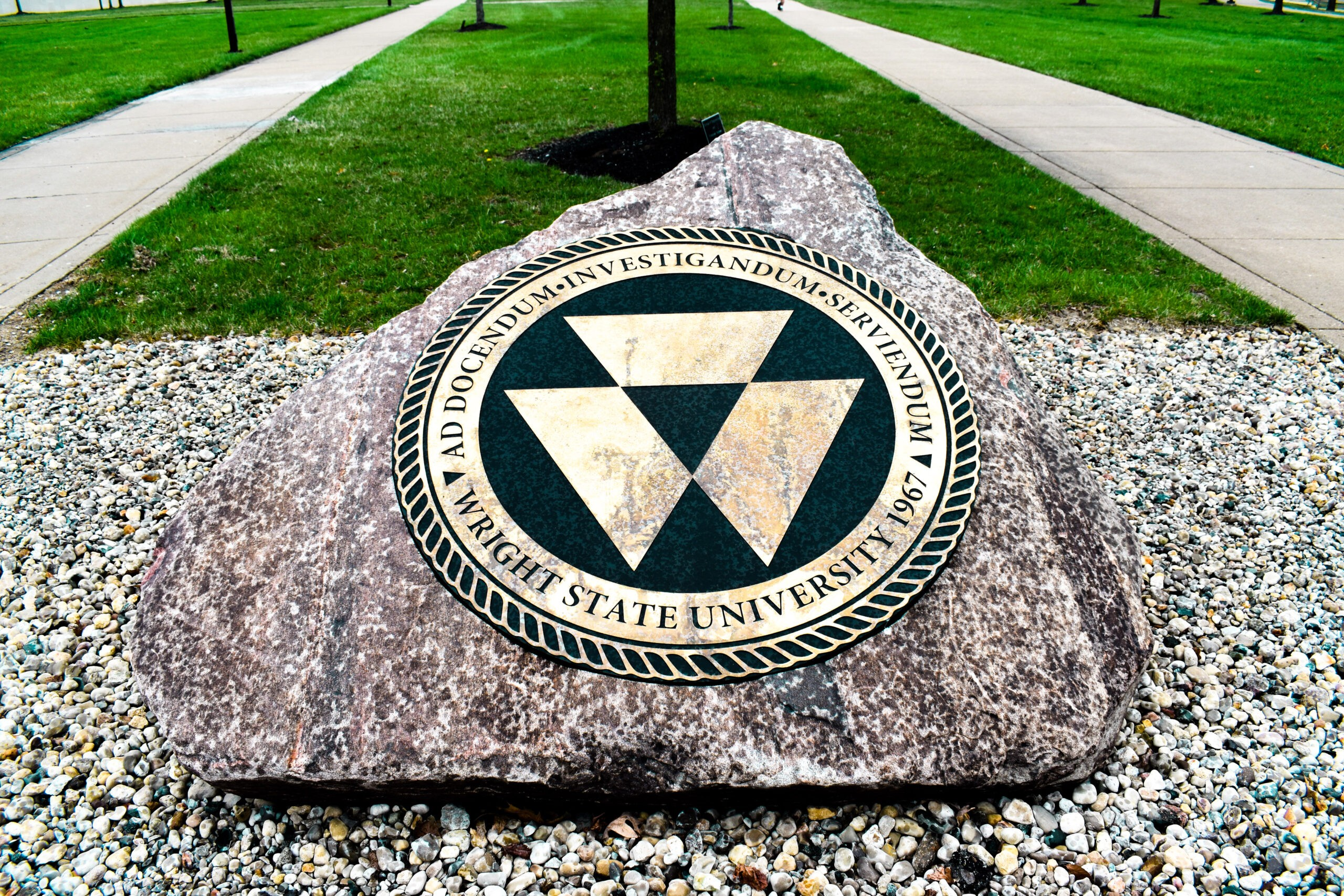 Seal monument located on Wright State's campus