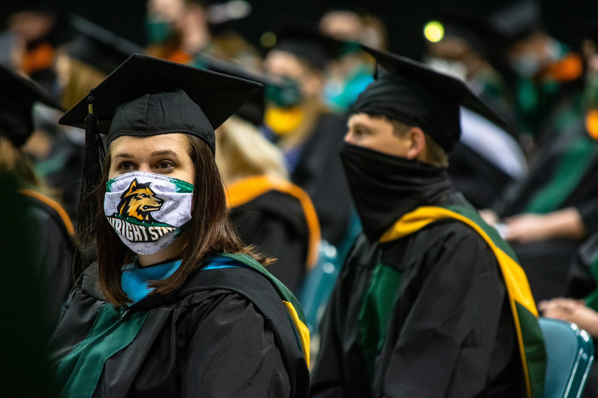 Photo of a master's degree candidate at the Wright State Spring 2021 commencement