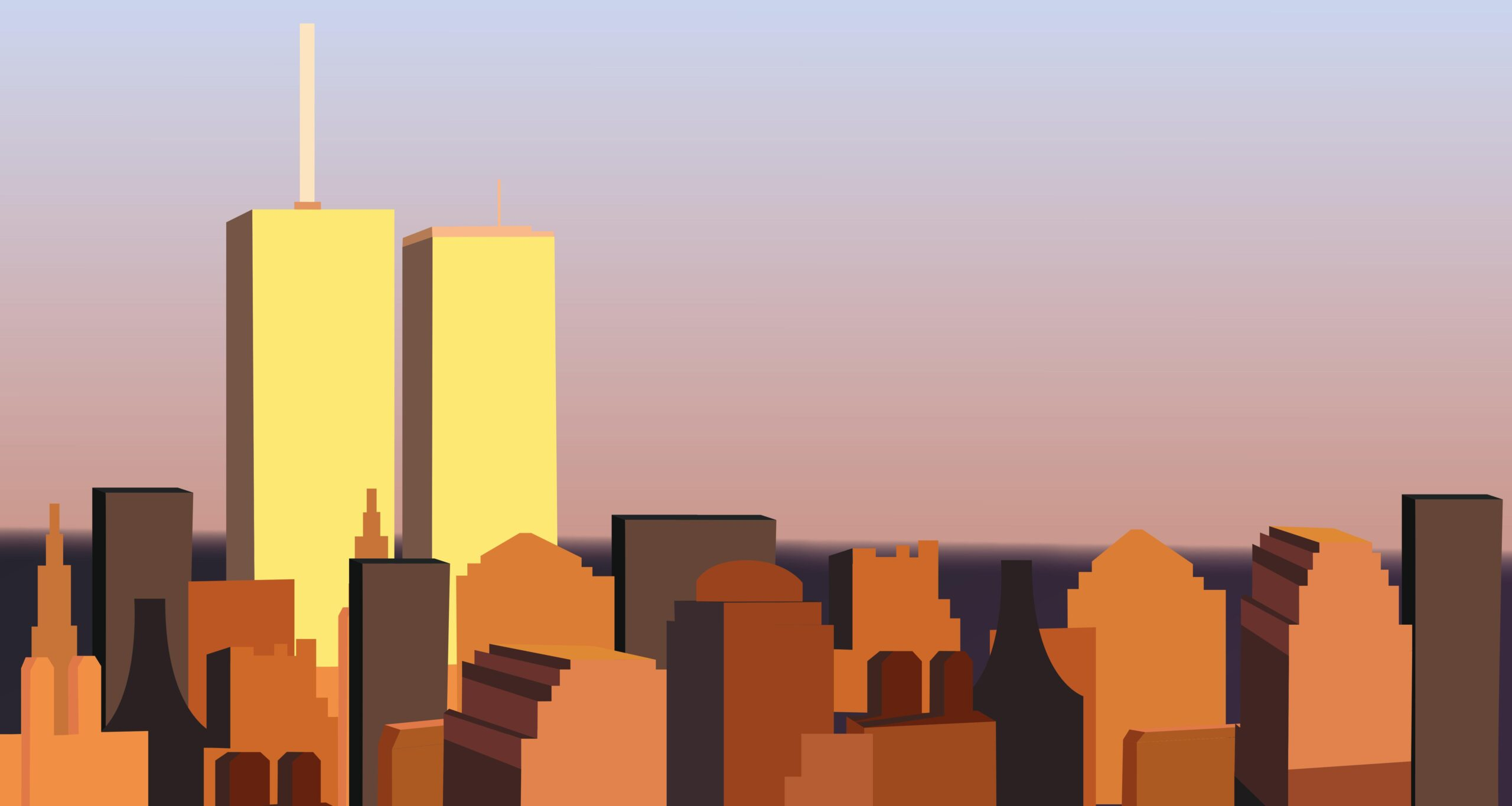 Graphic of the New York skyline, featuring the twin towers.