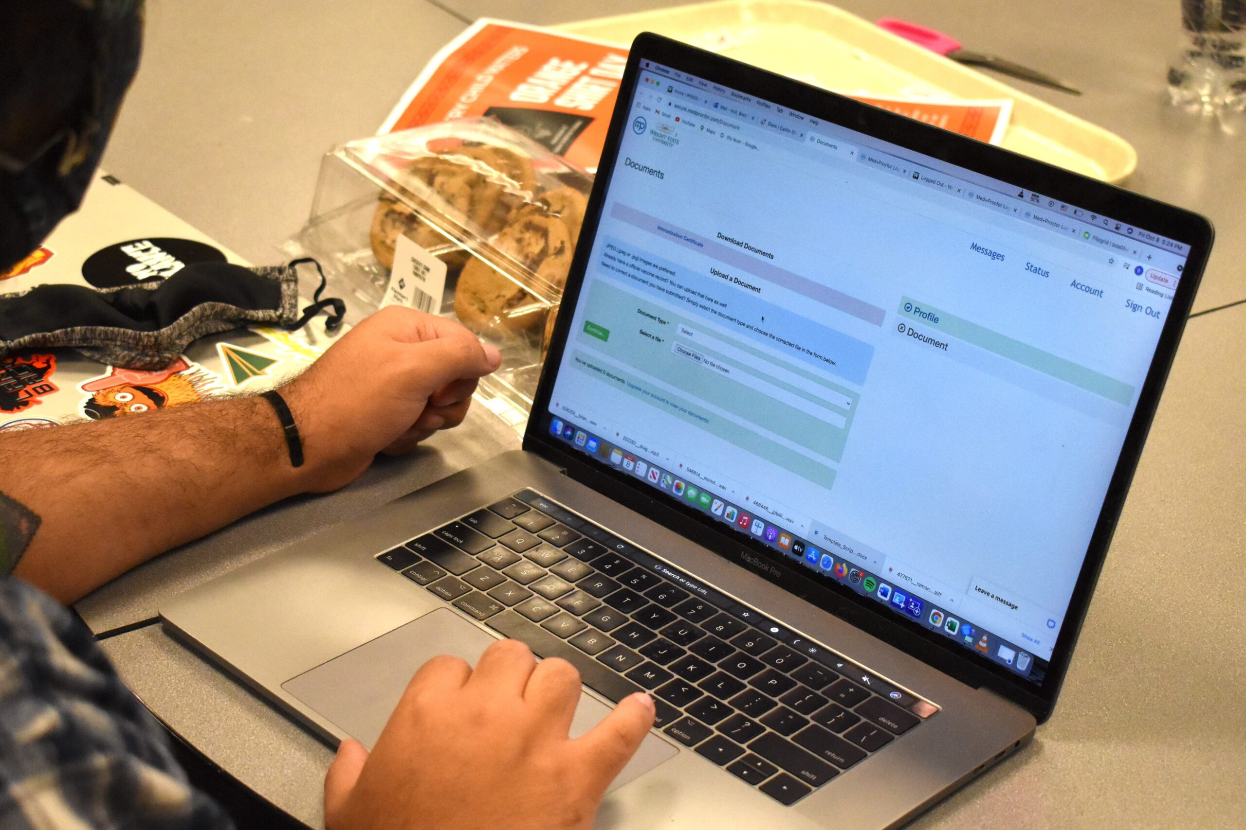 Student filling out the vaccine contest link