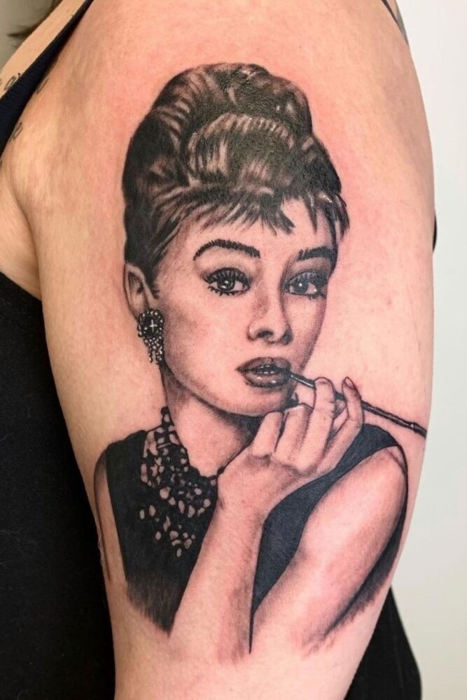Tattoo of Audrey Hepburn